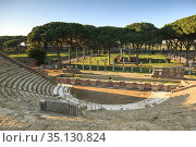 View of Theater and Square of the Guilds (Piazzale delle Corporazioni... Стоковое фото, фотограф Jumping Rocks Inc / age Fotostock / Фотобанк Лори