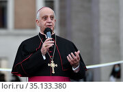 Monsignor Rino Fisichella inaugurates the exhibition '100 nativity... Редакционное фото, фотограф Maria Laura Antonelli/Maria Laura Antonelli / AGF / age Fotostock / Фотобанк Лори