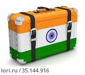 Ретрочемодан с национальным флагом Индии. Стоковая иллюстрация, иллюстратор WalDeMarus / Фотобанк Лори