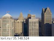 Detroit, Michigan - Downtown office buildings. Стоковое фото, фотограф Jim West / age Fotostock / Фотобанк Лори