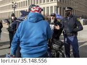 Lansing, Michigan USA - 23 November 2020 - A supporter of President... Редакционное фото, фотограф Jim West / age Fotostock / Фотобанк Лори