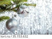 Silver Christmas balls. Стоковое фото, фотограф Юлия Бабкина / Фотобанк Лори