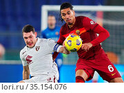 Andrea Belotti (Torino) Chris Smalling (Roma) during the match ,Rome... Редакционное фото, фотограф Federico Proietti / Sync / AGF/Federico Proietti / / age Fotostock / Фотобанк Лори