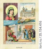 Old color lithography portrait of Saint Clotilde (475-545) Princess... Стоковое фото, фотограф Jerónimo Alba / age Fotostock / Фотобанк Лори