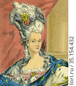 Old color lithography portrait of Marie-Antoinette Josèphe Jeanne... Стоковое фото, фотограф Jerónimo Alba / age Fotostock / Фотобанк Лори