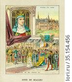 Old color lithography portrait of Anne de Beaujeu. Anne de France... Стоковое фото, фотограф Jerónimo Alba / age Fotostock / Фотобанк Лори