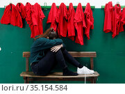 Victim of abuse in a school gym. Montrouge, France. Стоковое фото, фотограф Philippe Lissac / Godong / age Fotostock / Фотобанк Лори