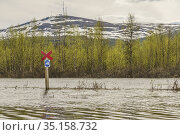 Flooded snowmobile path in spring season in Gällivare and Mount Dundret... Стоковое фото, фотограф Mats Lindberg / age Fotostock / Фотобанк Лори