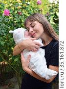 Newborn girl on mother's hands. Стоковое фото, фотограф Арестов Андрей Павлович / Фотобанк Лори