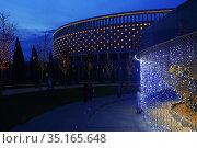 Park Krasnodar in winter. Evening. Редакционное фото, фотограф Марина Володько / Фотобанк Лори