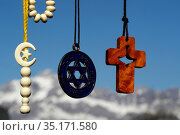 Christianity, Islam, Judaism 3 monotheistic religions. Jewish Star... Стоковое фото, фотограф Fred de Noyelle / Godong / age Fotostock / Фотобанк Лори