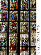 St Nicolas's church, Beaumont le Roger, Eure, France. Stained glass. Стоковое фото, фотограф Julian Kumar / Godong / age Fotostock / Фотобанк Лори