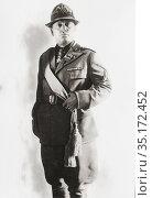 Portrait of Benito Mussolini circa 1930. Benito Mussolini, 1883 - ... Редакционное фото, фотограф Classic Vision / age Fotostock / Фотобанк Лори