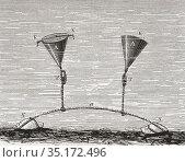 Jacobi wet torpedoes showing, A: conical sheet metal casings,. K: ... Редакционное фото, фотограф Classic Vision / age Fotostock / Фотобанк Лори