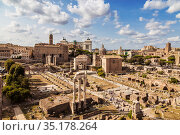 Panorama of the Roman forum, view from above. Rome, Italy (2017 год). Стоковое фото, фотограф Наталья Волкова / Фотобанк Лори