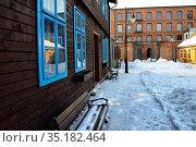 Winter scene, Open-air Museum - skansen of regional Wooden Architecture... Стоковое фото, фотограф Danuta Hyniewska / age Fotostock / Фотобанк Лори