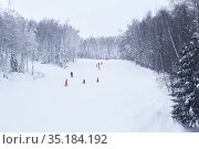 Amateur downhill skiers ride on a forest ski track in the Perm Krai, Russia. Редакционное фото, фотограф Евгений Харитонов / Фотобанк Лори