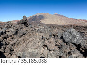 The top of the Teide volcano. View from the heap of lava. Sunny clear weather. Tenerife. Canary islands. Spain. (2016 год). Стоковое фото, фотограф Кекяляйнен Андрей / Фотобанк Лори
