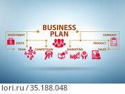 Business plan concept illustration with key elements. Стоковое фото, фотограф Elnur / Фотобанк Лори