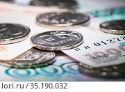 Деньги. Российские рубли. Монеты и банкноты. Стоковое фото, фотограф E. O. / Фотобанк Лори