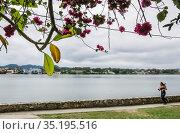 Lake around tourism town of Flores Guatemala Central America. Редакционное фото, фотограф Николай Коржов / Фотобанк Лори