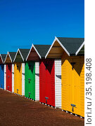 England, East Sussex, Eastbourne, Colourful Beach Huts. Стоковое фото, фотограф Steve Vidler / age Fotostock / Фотобанк Лори