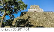 Temple of the Masks, El Peten, Grand Plaza, Tikal National Park, Yucatan, Guatemala. Стоковое фото, фотограф Николай Коржов / Фотобанк Лори