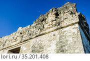 Fragment of Temple of the Masks, El Peten, Grand Plaza, Tikal National Park, Yucatan, Guatemala. Стоковое фото, фотограф Николай Коржов / Фотобанк Лори