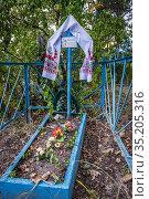 Grave on a cemetery in abandoned Zymovyshche village Chernobyl Nuclear... Стоковое фото, фотограф Konrad Zelazowski / age Fotostock / Фотобанк Лори
