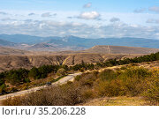 Landscape of loamy relief foothills and mountains of the Crimea. Стоковое фото, фотограф Владимир Ушаров / Фотобанк Лори