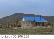Country house under construction in the highlands (2019 год). Стоковое фото, фотограф Юрий Бизгаймер / Фотобанк Лори