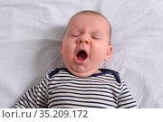 Relaxed baby yawning. Стоковое фото, фотограф Josep Curto / easy Fotostock / Фотобанк Лори