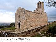Romanesque church of Sant Miquel de Olerdola, Barcelona province,... Стоковое фото, фотограф Josep Curto / easy Fotostock / Фотобанк Лори