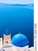 Aegean sea from Santorini island in Greece (2018 год). Стоковое фото, фотограф Роман Сигаев / Фотобанк Лори