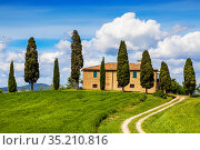 Farmhouse with cypresses around, Tuscany, Italy (2014 год). Стоковое фото, фотограф Наталья Волкова / Фотобанк Лори