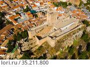 Aerial view of Almansa castle. City of Almansa. Spain. Стоковое фото, фотограф Яков Филимонов / Фотобанк Лори