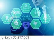 Cybersecurity concept with businessman pressing button. Стоковое фото, фотограф Elnur / Фотобанк Лори