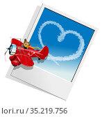 Valentines Card with Cartoon airplane. Стоковая иллюстрация, иллюстратор Александр Володин / Фотобанк Лори