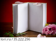 pink beautiful peony with petals, blank notebook for text. Стоковое фото, фотограф Peredniankina / Фотобанк Лори