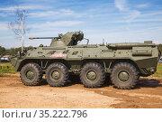 "BTR-82A armored personnel carrier before demonstration performances. International Military Forum ""Army-2020"" Редакционное фото, фотограф Наталья Волкова / Фотобанк Лори"