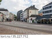 Вид на улицу в центре Трира, Германия (2018 год). Редакционное фото, фотограф V.Ivantsov / Фотобанк Лори