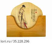 Подставки под горячее, набор из бамбука с китайской росписью. Редакционное фото, фотограф Мария Кылосова / Фотобанк Лори