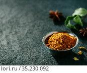 Garam masala and ingredients, copy space. Стоковое фото, фотограф Ольга Сергеева / Фотобанк Лори