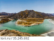 The place of confluence of the Katun and Chuya rivers. Altai republic. Russia. Стоковое фото, фотограф Наталья Волкова / Фотобанк Лори