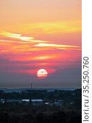 Закат над городом Спасск-Рязанский. Стоковое фото, фотограф Михаил Куликов / Фотобанк Лори
