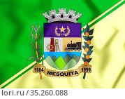 3D Flag of Mesquita (Rio de Janeiro), Brazil. 3D Illustration. Стоковое фото, фотограф Zoonar.com/Inna Popkova / easy Fotostock / Фотобанк Лори