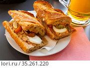 Sandwich with anchovies and eggs. Стоковое фото, фотограф Яков Филимонов / Фотобанк Лори