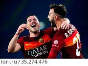 Borja Mayoral (Roma) celebrates with Jordan Veretout after the gol... Редакционное фото, фотограф Federico Proietti / Sync / AGF/Federico Proietti / / age Fotostock / Фотобанк Лори