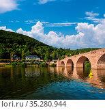 Heidelberg town on Neckar river in Germany. Стоковое фото, фотограф Zoonar.com/NIKOLAY OKHITIN / easy Fotostock / Фотобанк Лори
