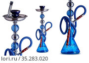 Set of water pipe or hookah, isolated on white clear background. Handcrafted... Стоковое фото, фотограф Zoonar.com/Máthé Csaba / easy Fotostock / Фотобанк Лори